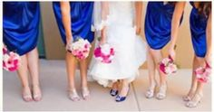 perfect!   blue bridesmaid dresses with pink bouquet