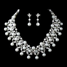 Silver Clear Rhinestone Pearl Bridal Jewelry Set $154.99 StressAwayBridalShop.com #bridaljewelry #shop #jewelry #weddings