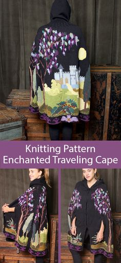 Knitting Pattern for Enchanted Traveling Cape Knitting Pattern for Enchanted Traveling Cape - Hooded Halloween Knitting Patterns, Sweater Knitting Patterns, Crochet Cardigan, Knit Crochet, Rowan Knitting, Intarsia Knitting, Knitted Cape Pattern, Knitted Dolls Free, Knitted Animals