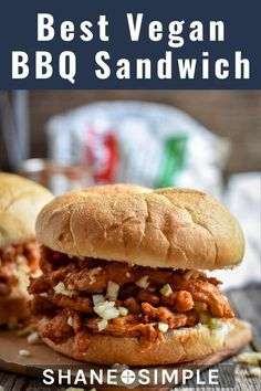 This is the Best Vegan BBQ Sandwich! Made with Butler Soy Curls and a great source of protein & fiber. #WFPBrecipe #VeganRecipe #healthymeals #easy