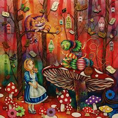 The third Alice in Wonderland release from Kerry Darlington, depicts the scene where Alice meets the Caterpillar in the famous Lewis Carroll tale. Lewis Carroll, Adventures In Wonderland, Alice In Wonderland, Kerry Darlington, Caterpillar Art, The Magic Faraway Tree, Pre Raphaelite Paintings, Pin Up, Chenille