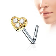 Curved nose stud with heart with crystals rosegold Piercings, Nose Stud, Enamel, Rose Gold, Crystals, Accessories, Shawl, Heart, Piercing