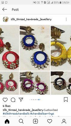 Silk Thread Jhumkas, Silk Thread Bangles Design, Silk Thread Earrings, Beaded Earrings, Beaded Jewelry, Diy Fabric Jewellery, Thread Jewellery, Earth Drawings, Handmade Jewelry Tutorials