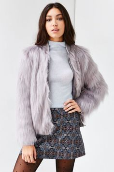 Silence + Noise Faux Fur Zip-Up Jacket - Urban Outfitters