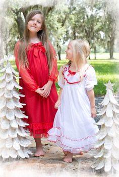 Christmas White/Red Fancy Night Gown Now in Stock Pyjamas, Kids Pajamas, Toddler Christmas, Christmas Pajamas, 14 Year Girl, Holiday Fashion, Holiday Style, Barefoot Kids, Girls Christmas Dresses