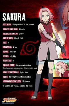 Sakura character info - Naruto Her birthday is a day after mine :D Gaara, Naruto Uzumaki, Anime Naruto, Naruto Shippuden Characters, Naruto Girls, Shikamaru, Naruto Art, Naruto And Sasuke, Kakashi