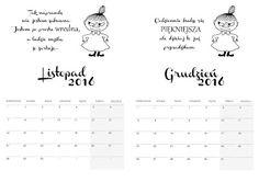 Rozaneczka: Kalendarz 2016 - Mała Mi   kalendarz, calendar, planner, organizer, do druku, free, printable