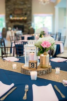 Wedding Receptions Elegant Navy and Blush Estate Wedding Navy Wedding Centerpieces, Blush Centerpiece, Gold Wedding Decorations, Reception Decorations, Round Table Decorations, Centerpiece Ideas, Reception Ideas, Navy Blush Weddings, Blue And Blush Wedding