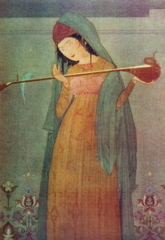Painting by Chughtai depicting a woman holding a sitar Mirza Ghalib's poetry illustrated