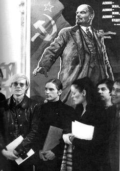 Andy Warhol, Joe Dallesandro, Jane Forth, Bob Colacello and Lenin poster. Germany 1971