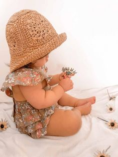 Louie Straw Hat Winslow Romper Baby Girl Accessories, Lounge Wear, Romper, Little Girls, Girl Outfits, Crochet Hats, Casual, Cute, Beautiful