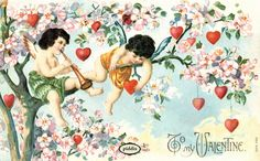 Super-sweet Victorian-era #vintage St. Valentine's Day postcard with hearts and cherubs in a cherry tree. PDXC8371 -- #ValentinesDay by piddix