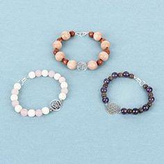 Gemstone Bracelet Collection Beaded Necklace, Beaded Bracelets, Wooden Beads, Round Beads, Rose Quartz, Amethyst, Gemstones, Beading, How To Make