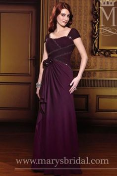 Gorgeous chiffon hug-the-shoulder sheath mother of the bride dress.