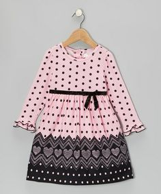 Take a look at this Pink & Black Polka Dot Heart Dress - Toddler by Youngland on #zulily today!