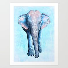 Trademark Fine Art 'Painted Asian Elephant' Canvas Art by Michelle Faber, Size: 30 x 47 Elephant Picture Frame, Canvas Frame, Canvas Wall Art, Canvas Canvas, Canvas Size, Elephant Canvas Art, Framed Wall Art, Framed Prints, Asian Elephant