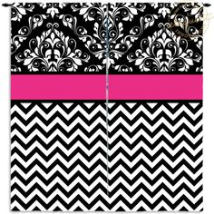 Window Curtains for Girls- Pink, Chevron, Damask -  Curtains - Girls Window Curtains - Custom Size Curtain Panels #217 by EloquentInnovations on Etsy