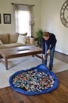 Lego and small toy storage bags for easy cleanup