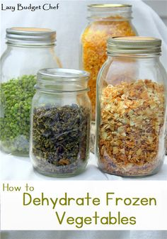 A step by step tutorial how to dehydrate frozen vegetables like peas, corn, green peppers, and onions and vacuum seal them into mason jars for non electric food storage.