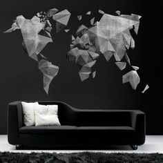 World Map Cement Effect