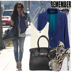 A fashion look from August 2011 featuring racer back tank, blue blazers and Acne Studios. Browse and shop related looks. Cute Fashion, Star Fashion, Fashion Outfits, Fashion 2014, Fashion Ideas, Fashion Inspiration, Celebrity Outfits, Celebrity Style, Kardashian Style