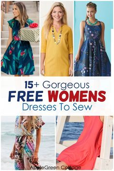 17 free summer dress patterns for women you can sew now! Learn how to sew a dress from these 17 free dress patterns for women: swing dress pattern, shift dress pattern, sleeveless, short-sleeve dress, raglan dress, or a top tank dress, or opt for a vintage dress pattern - or a modern dress design. Choose your perfect womens dress pattern and look gorgeous this summer! #dresspatterns #freepatterns #sewing #dress #diyfashion