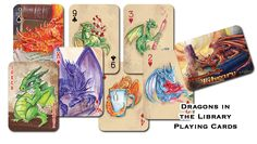 """Dragons in the Library Playing Cards - These playing cards feature adorable (yet trouble making!) watercolor dragons by artist Jessica Cathryn Feinberg from her book """"Dragons in the Library"""". Custom Playing Cards, Christmas Is Coming, Dragons, Geek Stuff, Party Ideas, Gift Ideas, Watercolor, Geeks, Artist"""