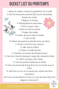 20 choses à faire avec larrivée du printemps - Best Image Portal Bullet Journal Month, French Language Lessons, Miracle Morning, Indoor Activities For Kids, Summer Activities, Summer Bucket Lists, Practical Gifts, Happy Planner, Bujo