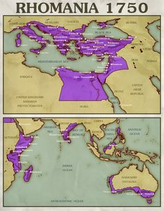A map showing an Eastern Roman (Byzantine) Empire, known as 'Rhomania' that not only survived but prospered, becoming one of the world's great powers ag. Alternate Worlds, Alternate History, Old World Maps, Old Maps, History Of India, World History, Ancient Rome, Ancient History, World Empire