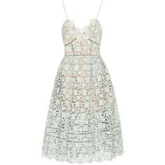 Self-Portrait Azaelea Lace Dress ($380) ❤ liked on Polyvore featuring dresses, green, lacy dress, white dress, green white dress, white cocktail dresses and white lace dress