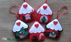 Filc karácsonyi dekoráció, 5 db mézeskalács házikó, Dekoráció, Otthon, lakberendezés, Dísz, Varrás, Meska