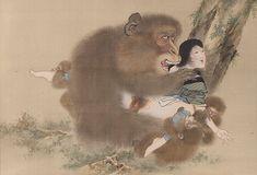 kobayashi eitaku - shunga- erotic painting - monkey having intercourse with a woman Japanese Prints, Japanese Art, Japanese Monkey, Erotic Art, Asian Art, Magick, Latina, Album Covers, Istanbul