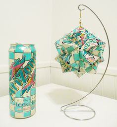 Hanging Aluminum Arizona Iced Tea (with Lemon) Can Origami Ornament - Upcycled Recycled Repurposed. $40.00, via Etsy.