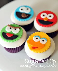 Sesame Street Party // Sesame Street Cupcakes @Lea Krause umm these are adorable!! they look doable with some fondant