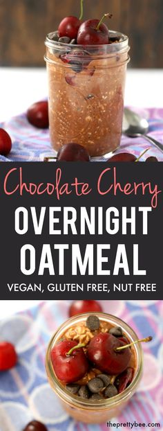 An easy and delicious recipe for chocolate cherry overnight oats. You'll love this healthy breakfast option for busy mornings! #vegan #plantbased #nutfree #glutenfree Low Carb Vegetarian Recipes, Allergy Free Recipes, Delicious Vegan Recipes, Whole Food Recipes, Yummy Food, Bread Recipes, Healthy Breakfast Options, Vegan Breakfast Recipes, Breakfast Ideas