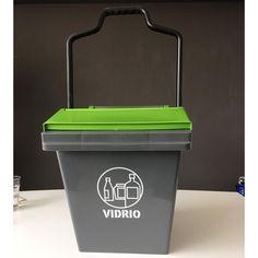 Contenedor de residuos Easy Trolley de 45 litros de capacidad, con estampado para la separación de vidrios. Compost, Easy, Waste Container, Recycling Bins, Organize, Glass, Composters