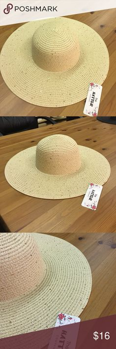 New floppy hat with sequins Paper straw floppy hat. 4 inch brim.One size fits most women(head curcumference is about 57cm the hatter Accessories Hats