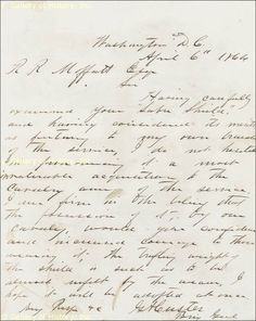 Civil War letter to Captain R.R. Moffatt from G.A Custer, Brig. Genl. dated 1864 April 6 - Original