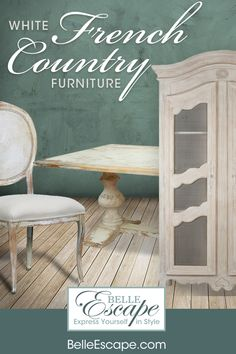Authentic French Country Furniture - Distressed White - Cream - White - Off White Farmhouse Style Furniture, French Country Furniture, Shabby Chic Farmhouse, French Country Decorating, Shabby Chic Furniture, Furniture Decor, Painted Furniture, French Country Tables, French Table
