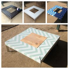 DIY Chevron Coffee Table: take an old table that needs refinishing. Sand and paint a light color/white. Let dry overnight. Apply painters tape in a chevron or other pattern of your choice. Paint a contrasting color over top. Peel off tape gently, add a clear finish and Voila!