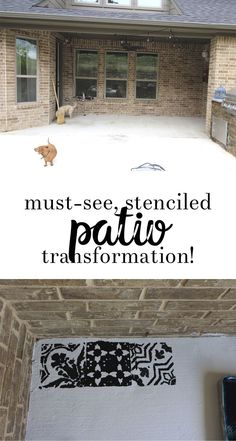 how to stencil your patio - all crafty things Cool Diy Projects, Home Projects, Project Ideas, Home Porch, Patio Makeover, Fall Diy, Decorating On A Budget, Creative Home, Home Decor Inspiration