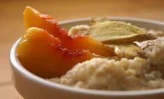 Oatmeal with peaches and ginger: sweet and a little spicy. #FastMetabolismDiet Phase 1 breakfast