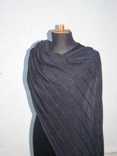 Shawl Wrap Merino Wool Charcoal Dark Gray Scarf Knitwear Escharpe chale schal (48.00 USD) by deliriumkredens