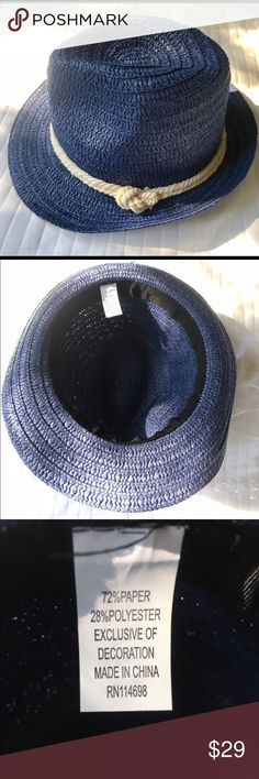 Nautical Blue Woven Fedora Hat Fits a smaller sized head great! In perfect condition. Brand is unknown, no tag.    👗₡ŁØ$EŦ ₦ØŦE$👙 ❌No Trades 💰Bundle Away! 15% off 2 items ✅Fair offers considered! 📸Ask for more measurements or pix 📧Always cheaper on Ǝ.Ᏸąყ 👉🏻koli9071  📦🌺Ships from Hawaii next business day J. Crew Accessories Hats