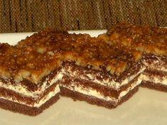 Fotorecept: Kakaovo medové rezy s orechovou krustou