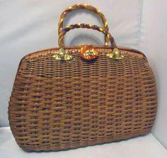 Vintage Brown Wicker Purse Handbag Hand Bag Tote Princess Charming by Atlas HK