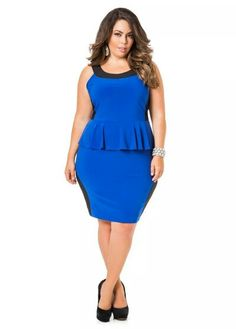 f2cac5147e4 Sleeveless Colorblock Peplum Dress Sleeveless Colorblock Peplum Dress  Trendy Plus Size Clothing