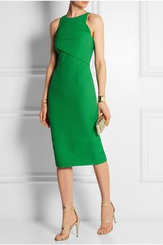 Roland Mouret | Abersley waffle-knit crepe-paneled cotton-blend dress | NET-A-PORTER.COM