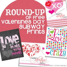 Eye Candy Event Details: {FREEBIE FRIDAY} Valentines Subway Art ROUND-UP  #subwayart, #freebies, #valentines
