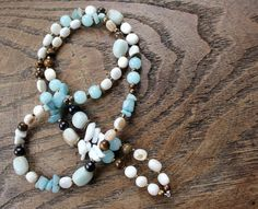 Long boho necklace with mix of natural stones and mother by eendar